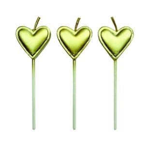 Gold Heart Candles 22mm (8)
