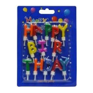 Letter Candle Happy Birthday 13pc & Hold