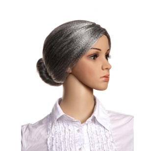 Wig Granny Grey With Bun Detail