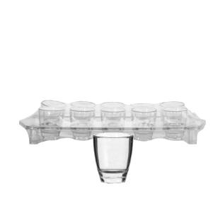 25ml Clear Shot Glasses Plastic Tray 10pc