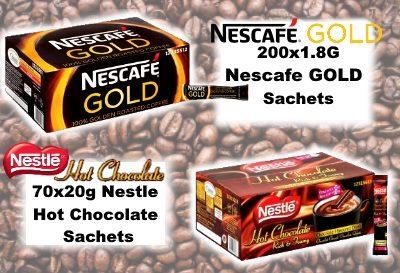 Nescafe Coffe and Nestle Hot Chocolate