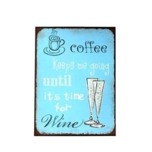 Metal Plaque 26x35cm - Coffee Wine