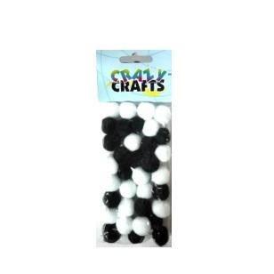 Pom-Poms 18mm - Black & White 35pc