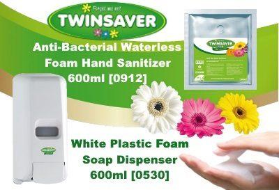 Twinsaver Waterless Foam Hand Sanitizer Dispenser and Refill