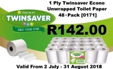 1 Ply Twinsaver Econo Unwrapped Toilet paper