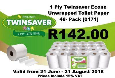 1 Ply Twinsaver Econo Unwrapped Toilet paper