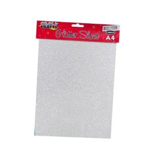 Craft Sheets - Glitter Silver A4 3pc