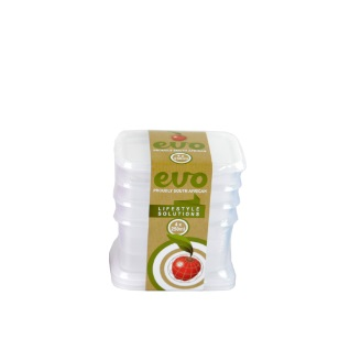 EVO - 250ml Snackbox Rect 4Pc - Clear