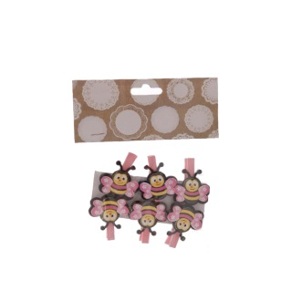 Pegs Bee Pink 4.5cm 6pc