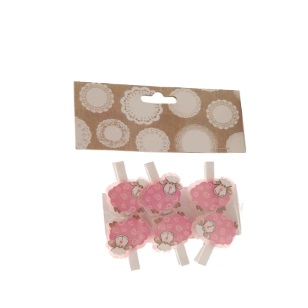 Pegs Sheep Pink 4.5cm 6pc