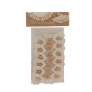 Pegs White Heart Open 4.5cm 12pc [720B]