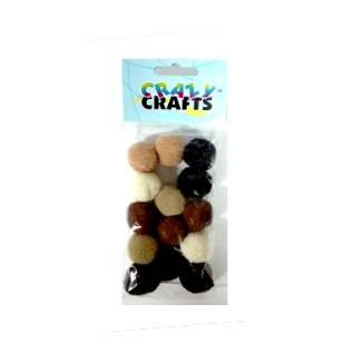 Pom-Poms 25mm - Brown & Beige 14pc